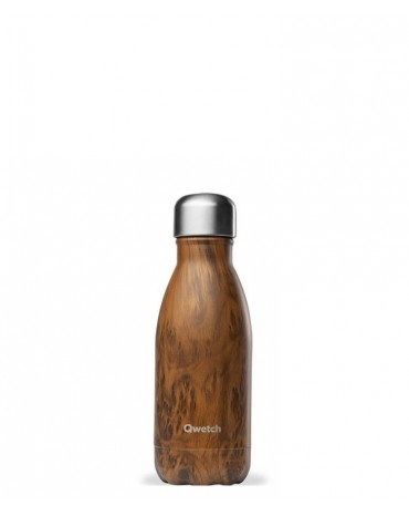 """QWETCH - Bouteille Nomade Isotherme  """"Wood Brun"""" 260ml"""