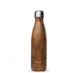 """QWETCH - Bouteille Nomade Isotherme  """"Wood Brun"""" 500ml"""