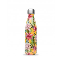 QWETCH - Bouteille Nomade Isotherme Tropical Fleur Jaune 500ml