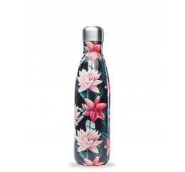 QWETCH - Bouteille Nomade Isotherme Tropical Fleur Noire 500ml